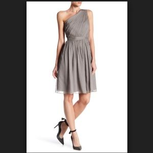 J.Crew Kylie Silk Chiffon One Shoulder Gray Dress